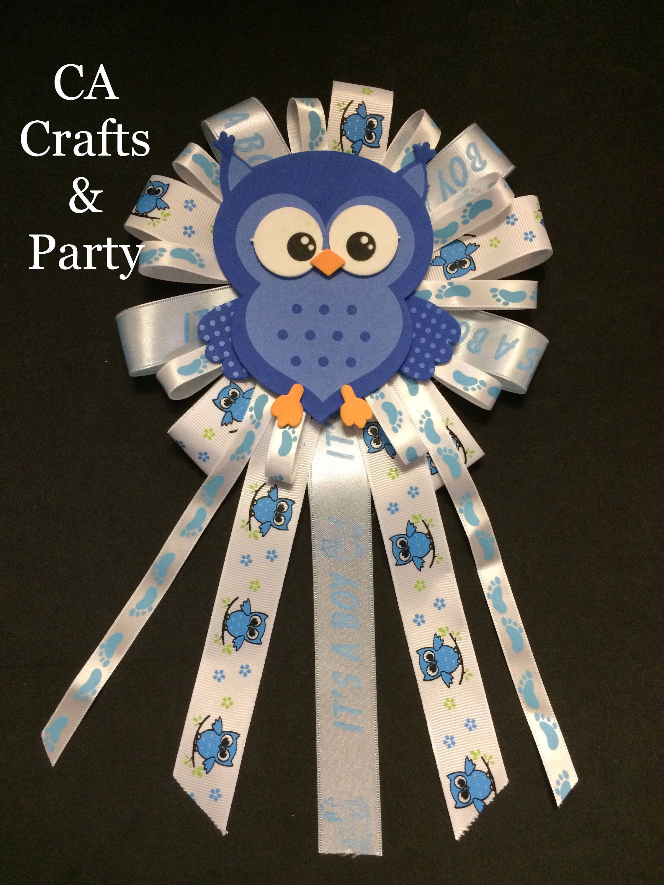 Blue Owl Baby Shower Corsage Pin Owl Boy Baby Shower Pin