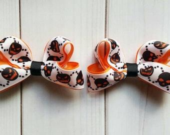 Halloween Pigtail Bows/Matching Halloween Hair Bows/Matching Halloween Hair Clips/Pumpkin Pigtail Bows/Matching Pumpkin Bows/Halloween Bows