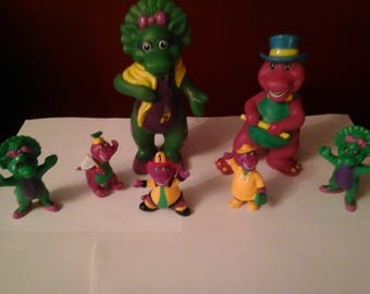 "1993 Barney & Friends PVC Figure - 5 @ 3"" and 2@ 6""Lyons"