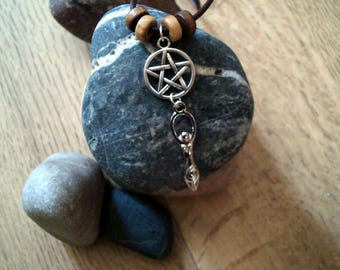 Silver Pentagram And Goddess Pendant Chord Necklace