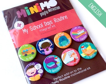 My School Days Routine magnet kit - Magnets - Magnetic Board - Routine - Elementary school - Homework - Lessons - Kids - Child - Minimo