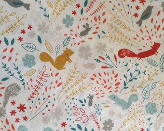 Squirrel Fabric Faraway Forest, Blend Fabrics Lizzie Mackay, Woodland Fabric, Squirrel Cotton, Forest Cotton, Nursery Fabric
