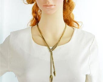 Vintage Jewelry Set  Ethinc Antique Gold Silver Color Long Chain Leaf Pendant Maxi Necklace and Leaf Dangle Earrings