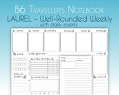 B6 Laurel - Well-Rounded Weekly w/Daily Vertical Traveller's Notebook Insert, Printable TN, Traveler's Notebook, Habit Tracker, Meal Planner