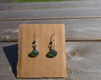 Green seaglass + Stirling Silver earrings
