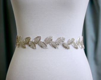 Boho Bridal Belt, Leaf Boho Bridal Sash, Wedding Belt, Wedding Sash Rhinestone and Pearl Sash
