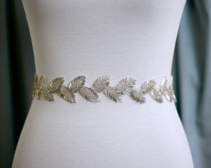 Boho Bridal Belt, Leaf Boho Bridal Sash, Wedding Belt, Wedding Sash Rhinestone and Pearl Sash