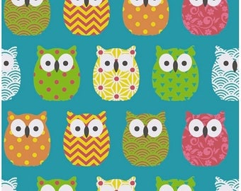 Mini fabric Scandinavian - cotton oeko tex - multicolor turquoise owls - OWL fabric - owl fabric - birds fabric - fabric sold by 50 cm