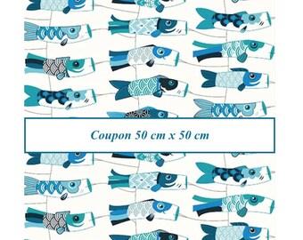Coupon fat quarter 50 cm X 50 cm, fabric kites koinobori peacock blue, fabric Japanese flying koi carps