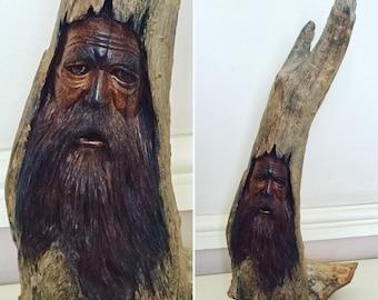 WOOD SPIRIT CARVING, Greenman, Driftwood, Home Decor Sculpture, Housewarming Gift, Birthday, Tree Spirit