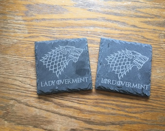 His & Hers Personalised G.O.T inspired slate coasters