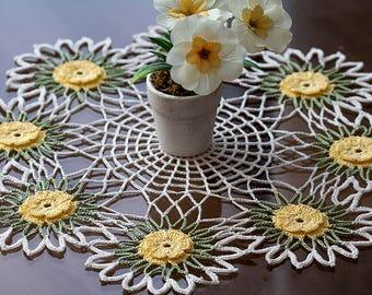 Handmade crochet doily Crochet doilies Round doilies Home decor Colorful doily Table decor Lace doily  Tablecloth Yellow flowers doily