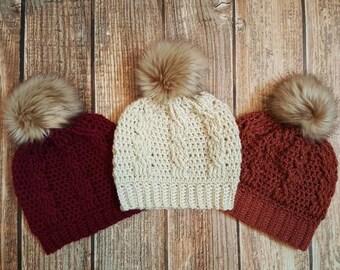 Cable stitch hat, pom pom hat, faux fur pom pom hat, crochet women's hat, winter beanie, women's holiday gift