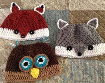 Messy Bun/Ponytail Hats - Woodland Themed