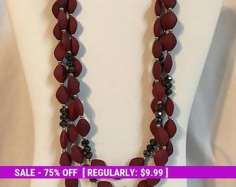 Vintage Bead Necklace, Red Rubber Bead, Black, silver tone, Fashion, Retro, Estate Jewelry