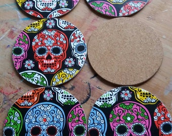 Set of 4 sugar skull decoupaged coasters, goth, day of the dead