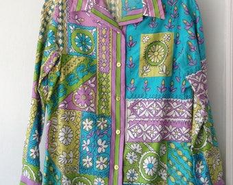 1970s Vintage Vera Neuman All Cotton Blouse (purple, blue, green)