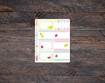 Summer Fruit Half Box Planner Stickers Erin Condren Life Planner Functional Kikki K Filofax Happy Travelers Notebook Pineapple KES003-06