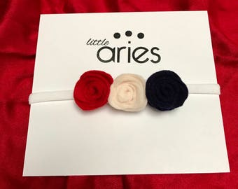 Red, White, & Blue Rosette Headband (Fourth of July headband)