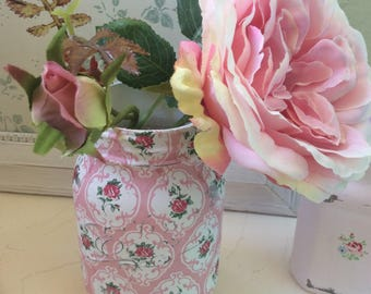 Cath Kidston Mason Jar 0.5L / Provence Rose pink Vase / Vintagestyle/ Shabby Chic Mason Jar