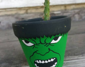 Hulk character handpainted terra cotta pot flowerpot