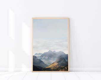 Mountain Photography PRINT, Mountain Photograph, Modern Minimalist, Landscape Photography, Scandi Wall Art, Mountain Print, Forest Art Print