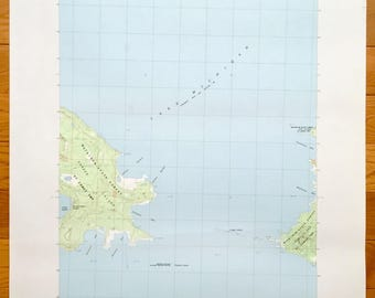 Antique Hog Island, West, Michigan 1986 US Geological Survey Topographic Map – Lake Michigan, Mackinaw State Forest, St James Township