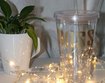 Boss Lady Clear Plastic Tumbler with Straw, Boss Lady,  16oz mug, Lady Boss Gift, customized, Inspirational Mug, Gold foil, entrepreneur