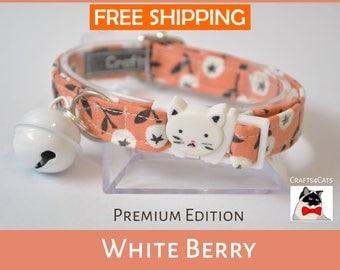 Unique cat collar 'White Berry' - autumn cat collar breakaway - Christmas cat collar - Halloween cat collar