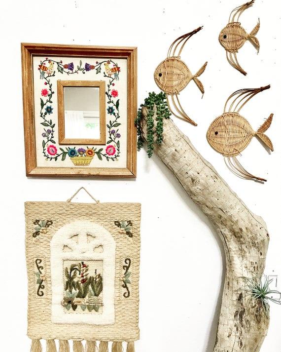 Wicker Wall Decor vintage wicker fish set/wicker wall decor/baby nursery