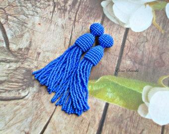 Blue color/beaded tassel/Short-tassel/handmade/oscar de la renta/clip on earrings/beading dangle earring/Earrings with sterling SILVER stud