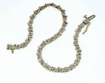 Vintage 9ct Gold Diamond Bracelet, Diamond Bracelet, Vintage Bracelet, Anniversary Gift, Wedding Jewelry, Mother's Day Gift, Free Shipping