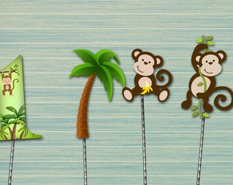 Monkey centerpiece - cake topper - birthday decoration - digital download PRINTABLE