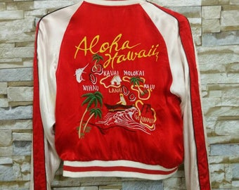 Vintage Aloha Hawaii Japanese Hawaii Kauai Molokai Nihau lanai Girl Hawaii Reversible Embroidered Rayon Tattoo Art Sukajan Bomber Jacket