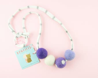 Felt Ball Necklace for Girls | Cute Pink Necklace | Chunky Felt Necklace | Defuser Necklace | Cute Jewelry Gift for Girls