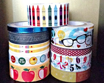10 Pc. School, Pencils, Crayons, Rulers, Numbers, Chalkboards, Polka Dots, Phrases Crafting Washi Tapes
