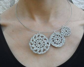 crochet necklace, choker, assimetrical, romantic style, brdal necklace, statement necklace, handmade, gift for her, sustainable jewelry