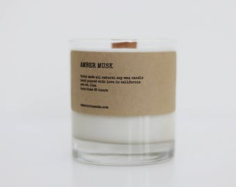 Amber musk candle, amber candle, wood wick candle, manly candle, whiskey glass candle, man candle, musk candle, musk manly candle