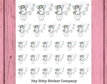 Tooth Faerie - Hand Drawn IttyBitty Kitty Collection - Planner Stickers
