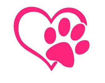 Paw Print Heart Vinyl Decal | Pet Decal | Heart | Dog and Cat Print | Yeti Cup Decal | Car Window Decal | Laptop Sticker |