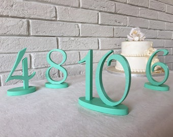 Mint silver glitter wedding table numbers, elegant script numbers for any wedding, birthday, bridal shower, anniversary. Rustic wood numbers