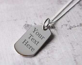 Personalised Silver Dog Tag Necklace - Various Sizes Available
