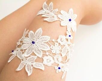 Something Blue Ivory Wedding Garter Set Lace Bridal Flower