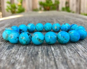 Natural Kingman Turquoise Bracelet Genuine 10mm High Grade Kingman Turquoise Round Gemstone Bracelet Exquisite Kingman Turquoise Rounds