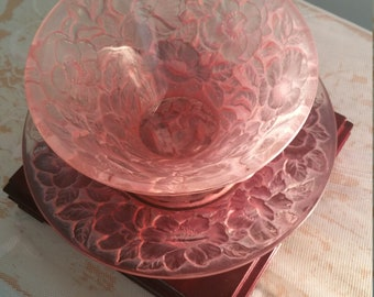 Vintage pink glass bowl and saucer, mid century, retro