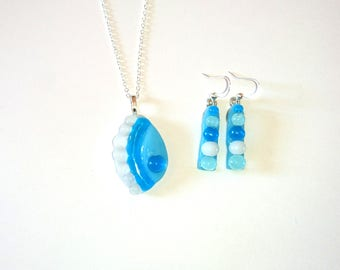 Beach of Caribbean fusing glass pendant