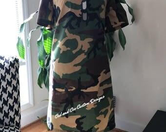 Off-the-Shoulder Camo Dress