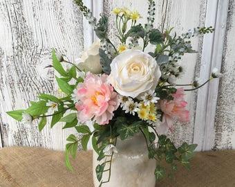 A Vintage Looking Crackled Crock Floral Arrangement, Wedding Centerpiece, Spring Arrangement, Summer Arrangement, Shabby Chic, Farmhouse