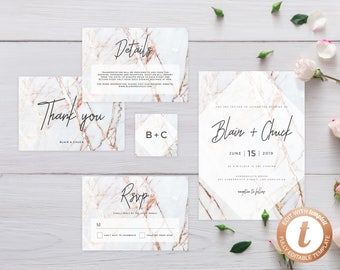 INSTANT DOWNLOAD Wedding Invitation Template, Printable Wedding Invitation Suite, Marble Wedding Invitation, Invitation Set, Templett, W03
