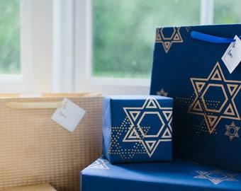 Cotton Gift Wrap Dazzling Blue Hanukkah